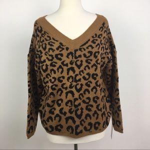 new GOODNIGHT MACAROON leopard v-neck sweater